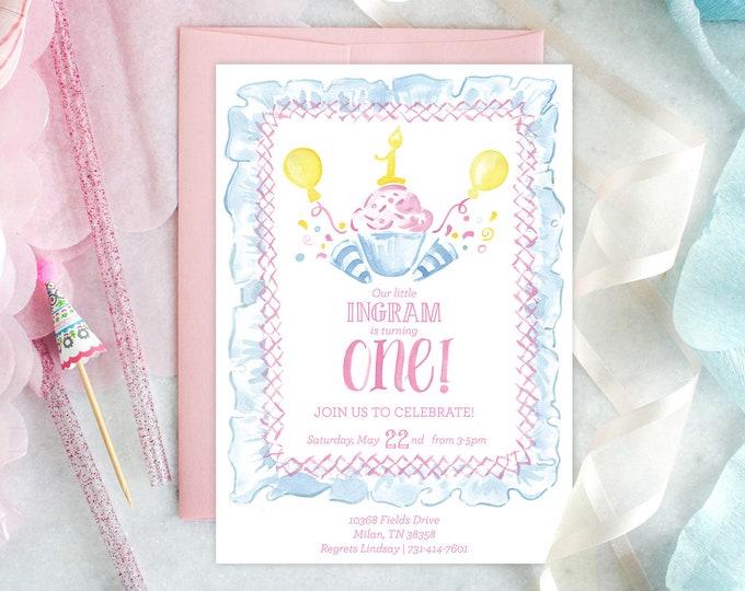 PRINTABLE Birthday Party Invitation   One is Sweet   Smocked Bib   Cupcakes & Confetti