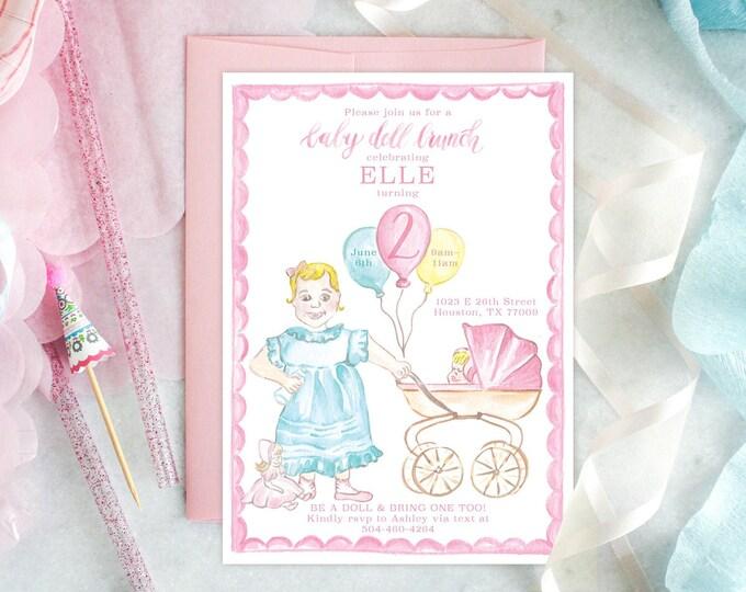 PRINTABLE Birthday Party Invitation   Baby Doll Birthday Brunch