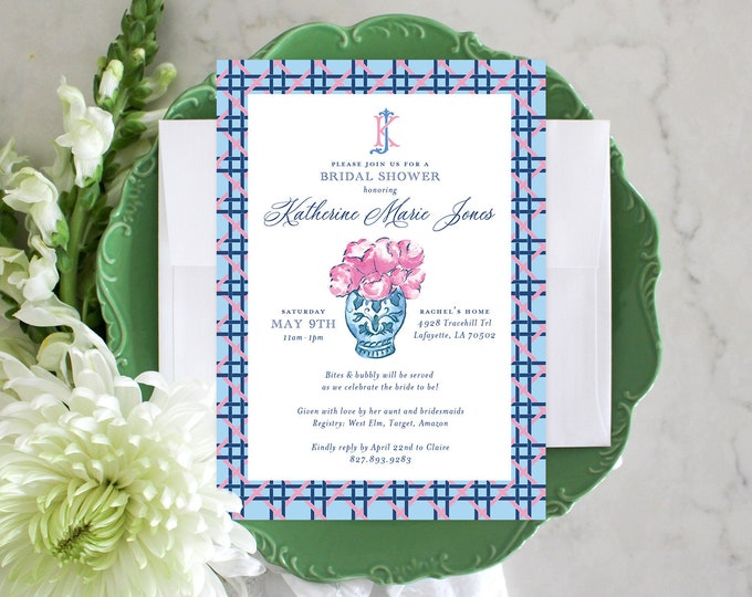 PRINTABLE Bridal Shower Invitation | Cane Weave | Pink Peonies | Chinoiserie