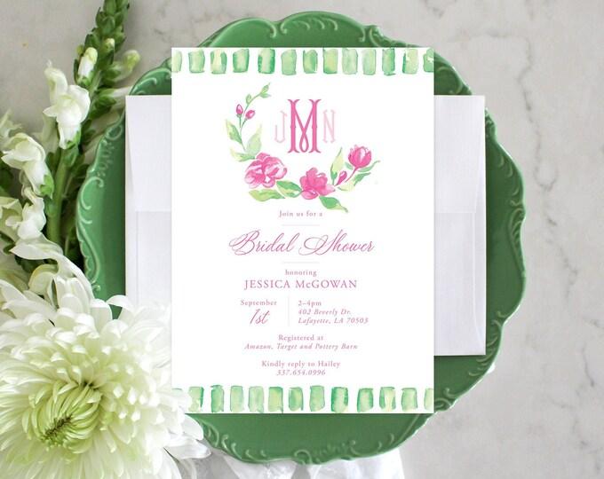 PRINTABLE Bridal Shower Invitation | Spring Green Stripes | Pink Florals | Monogram Wreath