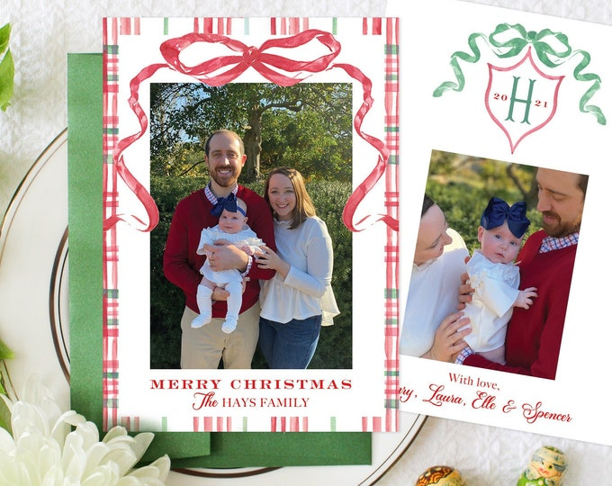 PRINTABLE Holiday Cards   Plaid   Red Ribbon   Classic Christmas   Family Initial