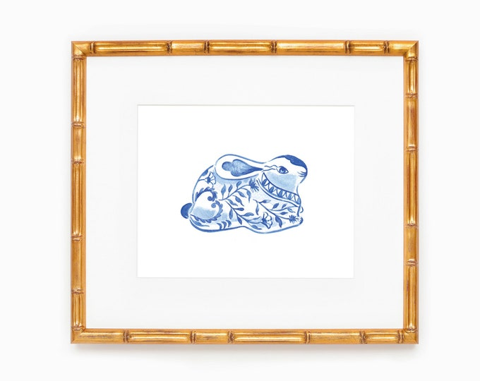 PRINTABLE Chinoiserie Bunny | Blue and White Forever | Timeless | Home Decor | Easter Bunny Print