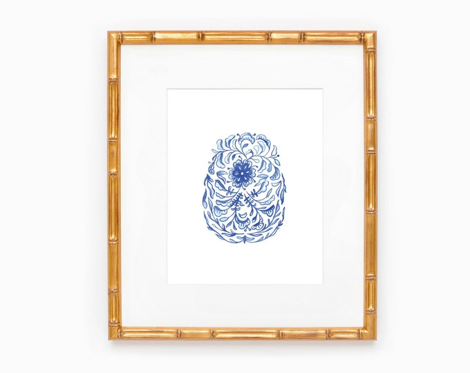 PRINTABLE Chinoiserie Egg | Blue and White Forever | Timeless | Home Decor | Easter Egg Print