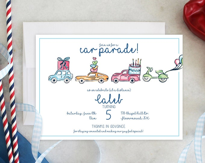 PRINTABLE Birthday Party Invitation | Car Parade | Quaranteam