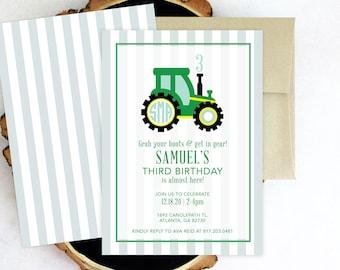 PRINTABLE Birthday Party Invitation | Tractor Party | John Deere | Preppy Tractor | Monogrammed
