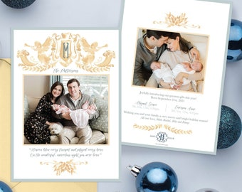 PRINTABLE Holiday Cards | Herald Angels | Gold Garland | Greatest Gift | Christmas Birth Announcement