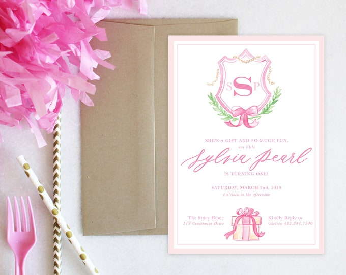 PRINTABLE Birthday Party Invitation | Monogrammed Crest | Present | Bow | She's a Gift