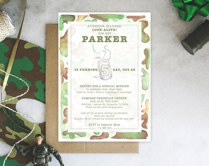 PRINTABLE Birthday Party Invitation | Camouflage Birthday | Military Party | Army Soldier