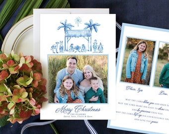 PRINTABLE Holiday Cards | Blue and White Nativity Scene | Away in a Manger | Merry Christmas