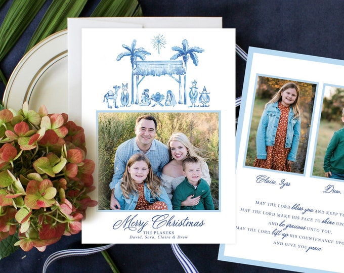 PRINTABLE Holiday Cards   Blue and White Nativity Scene   Away in a Manger   Merry Christmas