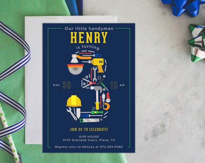PRINTABLE Birthday Party Invitation | Tools Party | Construction Birthday | Building | Hard Hats | Handyman