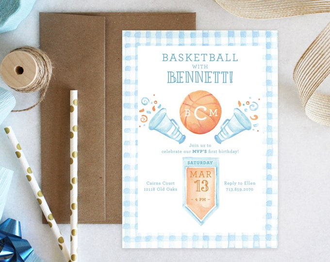 PRINTABLE Birthday Party Invitation   Basketball Baby   One is a Ball!   Sports Prep