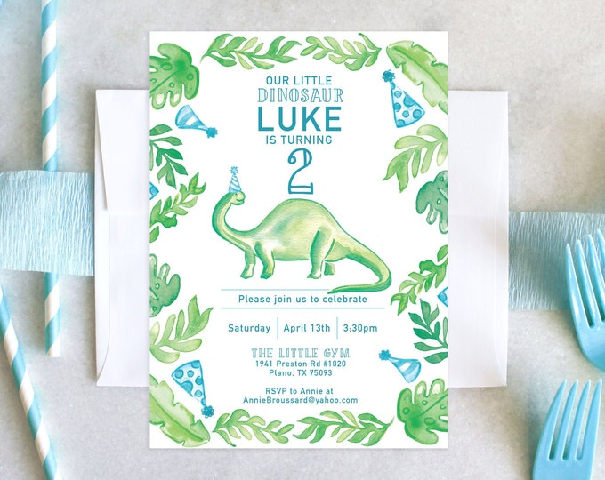 PRINTABLE Birthday Party Invitation | Little Dinosaur Birthday | Stomp & Rawr! | Three-Rex | Monstera Leaves | Tropical | Party Hats