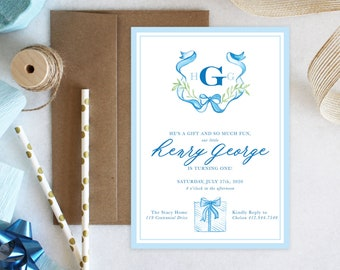 PRINTABLE Birthday Party Invitation | Monogrammed Crest | Present | He's a Gift