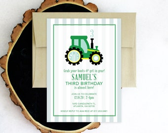 PRINTABLE Birthday Party Invitation | Tractor Party | John Deere | Preppy Tractor | Monogrammed
