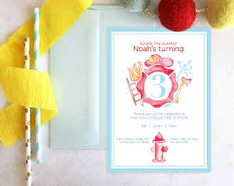 PRINTABLE Birthday Party Invitation | Fire Fighter | Sound the alarms