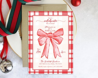 PRINTABLE Holiday Party Invitation | Celebrate the Season | Red Christmas Bow