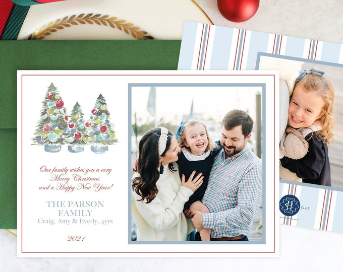 PRINTABLE Holiday Cards   Three Trimmed Trees   Classic Christmas Ornaments   Merry, Bright & Striped