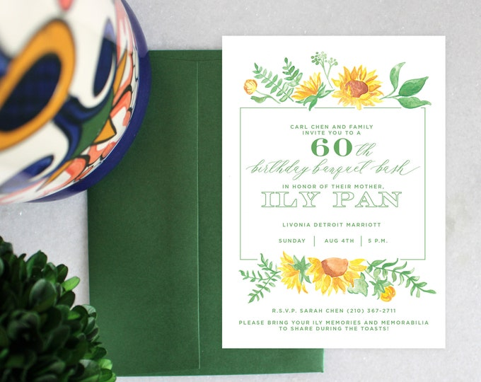 PRINTABLE Birthday Party Invitation | Sunflowers