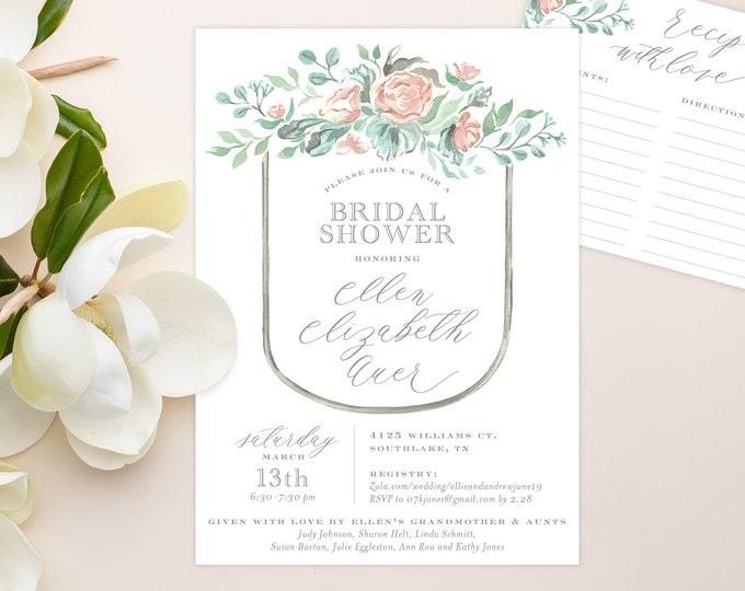 PRINTABLE Bridal Shower Invitation   Modern Florals   Muted Bouquet