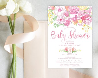 PRINTABLE Baby Girl Shower Invitation | Pink Bouquet