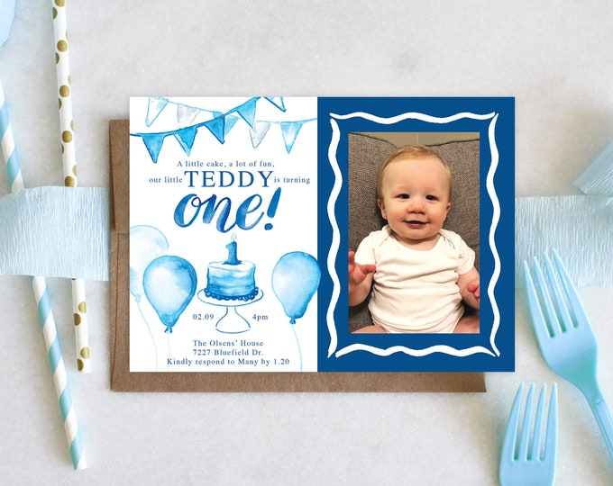 PRINTABLE Birthday Party Invitation | First Birthday | Photo | A Little Cake | A lot of Fun