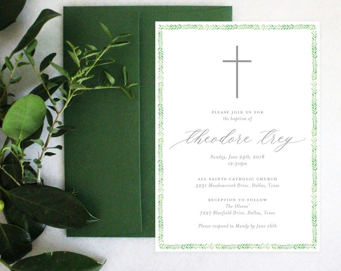 PRINTABLE Baptism Announcement | Invitation | Cross | Leaves | Simple | Traditional