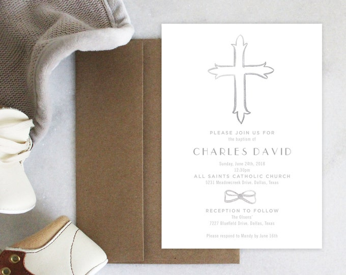 PRINTABLE Baptism Announcement | Invitation | Cross | Gray Bowtie