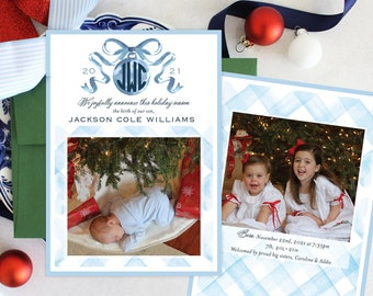 PRINTABLE Holiday Cards | Monogrammed Ornament | Baby Birth Announcement | Boy & Girl | Gingham | Bow