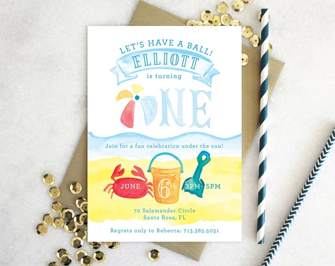 PRINTABLE Birthday Party Invitation | Beach Ball Invitation | Let's have a Ball! | Summer Splash