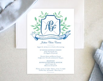 PRINTABLE Baptism Announcement | Invitation | Monogrammed | Crest