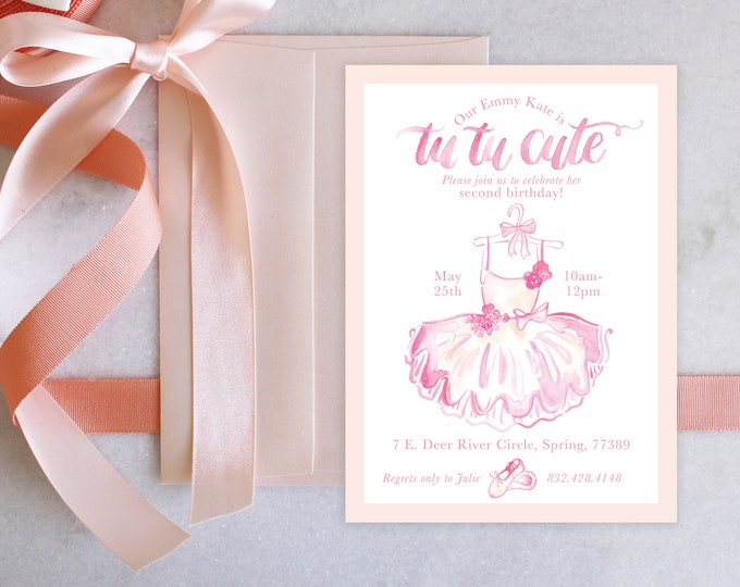PRINTABLE Birthday Party Invitation | TuTu Cute | Ballerina Birthday