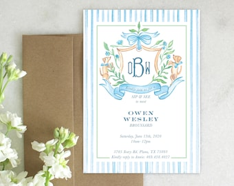 PRINTABLE Baby Shower Invitation | Puppy Crest | Sip and See | Blue Bow | Monogram | Searsucker