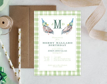 PRINTABLE Birthday Party Invitation | Merry Mallard Birthday | Ducks | Gingham