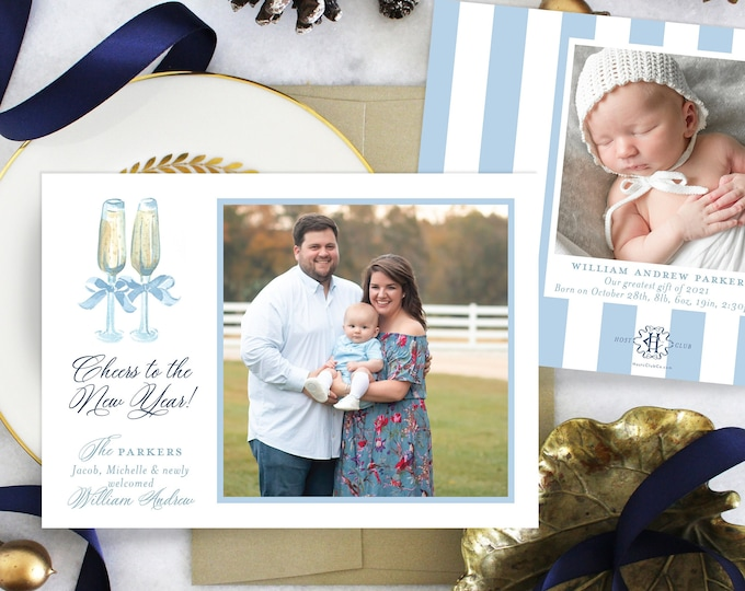 PRINTABLE Holiday Cards   Happy New Years   2021   Photo Cards   Champagne Toast   Birth Announcement