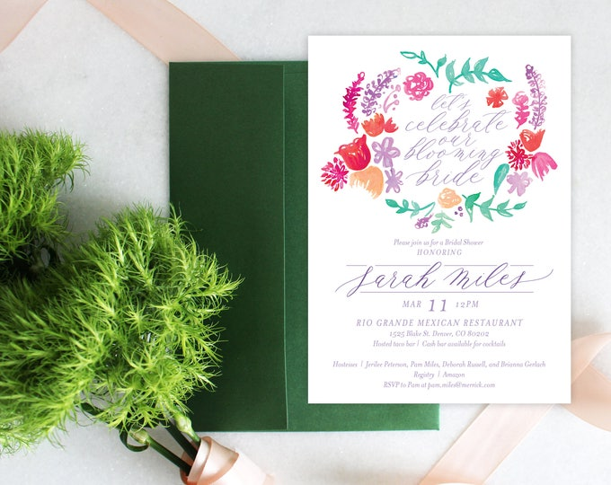 PRINTABLE Bridal Shower Invitation | Blooming Bride