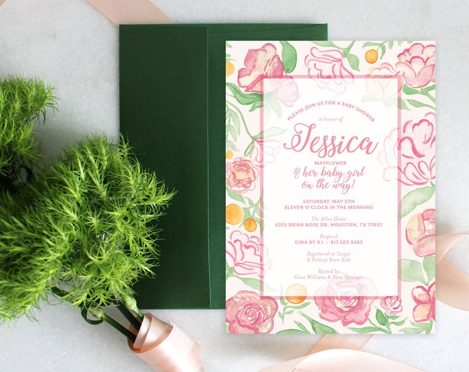 PRINTABLE Baby Girl Shower Invitation | Pink Florals