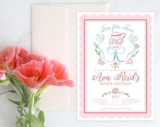 PRINTABLE Birthday Party Invitation | Tea for Two | Let's Par-Tea!