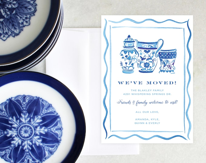 PRINTABLE Ginger Jars Moving Announcement | Blue & White