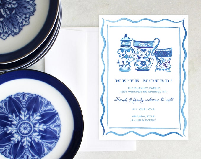 PRINTABLE Pineapple Moving Announcement | Blue & White