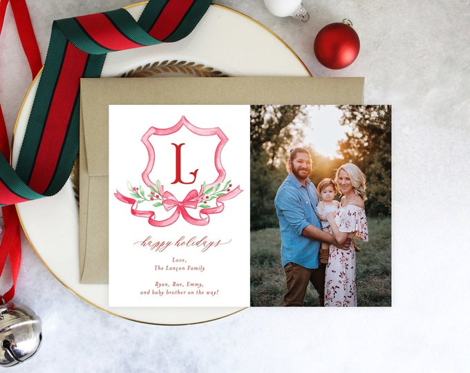 PRINTABLE Holiday Cards | Christmas Crest | Happy Holidays | Red Bow | Photo Cards | Family Initial