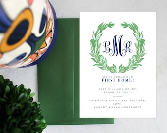 PRINTABLE Monogrammed Moving Announcement | Wreath