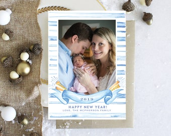 PRINTABLE Holiday Cards | Happy New Years | 2019 | Photo Cards | Celebrate with stripes | Birth Announcement