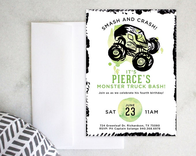 PRINTABLE Birthday Party Invitation | Monster Truck Bash