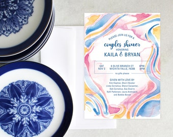 PRINTABLE Engagement Party Invitation | Marbled | Couple's Shower