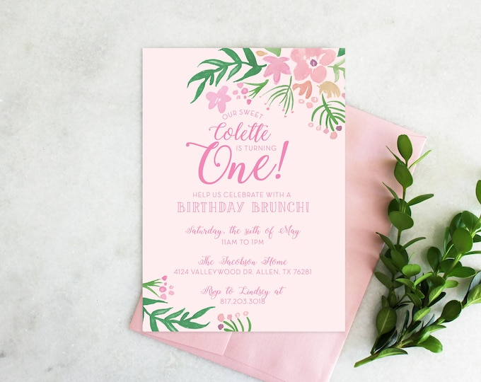 PRINTABLE Birthday Party Invitation | Floral One