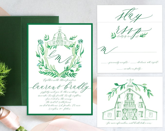 PRINTABLE Wedding Invitation Suite | Barn Crest