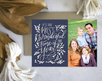 PRINTABLE Holiday Cards | The Most Wonderful Time of the Year | Christmas | Photo Cards | Navy