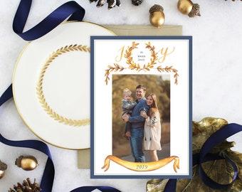 PRINTABLE Holiday Cards   JOY   Laurel Wreath   Photo Cards   Navy   Gold