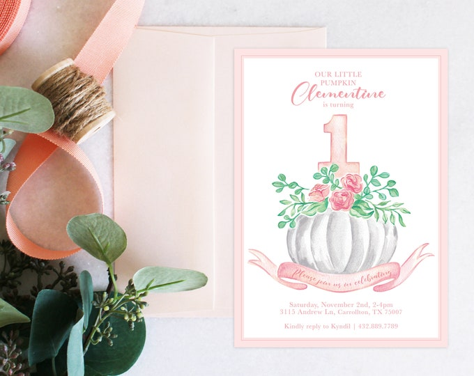 PRINTABLE Birthday Party Invitation | Little Pumpkin | Turning ONE | Floral pumpkin | Fall Baby Girl | Stat Sheet